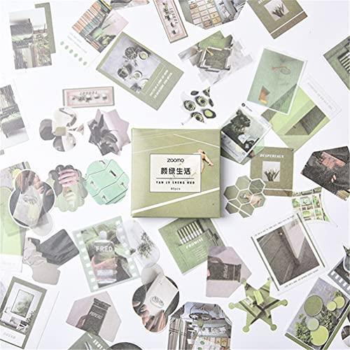 RuiChy 80 Pegatinas Washi con Paisaje, álbum de Recortes de Fotos, Etiquetas de Flores, Autoadhesivas, para Diario, Pegatinas Decorativas Vintage para planificador de Diario