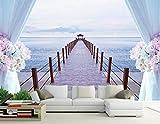 LUCK CAT Murale Mer Fraîche 3D Dock Long Bridge Style Méditerranéen Mur de Fond TV...