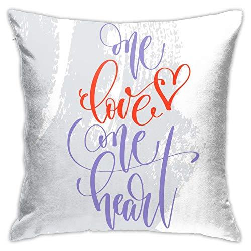Fundas de almohada One Love One Heart para niñas, mujeres, niños, sofá, decoración del hogar
