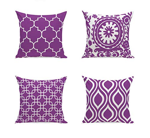 Emvency Set of 4 Pillow Covers Decorative Cushion 18' x 18' Modern Geometric Purple with Hidden Zipper Polyester Home for Couch Bed
