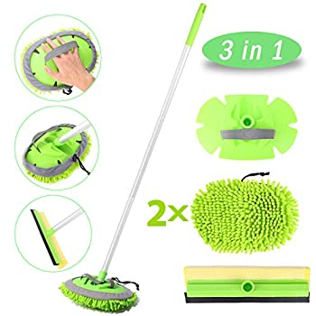 Car Wash Brush with Long Handle Car Wash Mop with 45  Aluminum Alloy Long Handle,2 Chenille Microfiber Car Wash Brush Head,2 in 1 Car Drying Squeegee Sponge 3 Mop Pole,3 in 1 Car Cleaning Tools