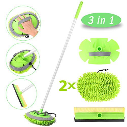 Car Wash Brush with Long Handle, Car Wash Mop with 45' Aluminum Alloy Long Handle,2 Chenille Microfiber Car Wash Brush Head,2 in 1 Car Drying Squeegee Sponge, 3 Mop Pole,3 in 1 Car Cleaning Tools