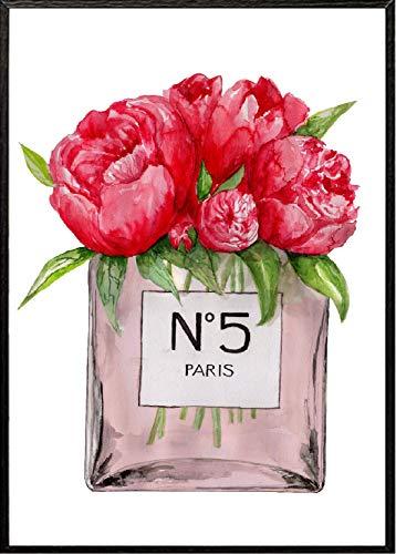 4Good Epictures Din A3 Coco Chanel No. 5 & Dior parfumfles met bloemen handgeschilderd muurschildering voor de woonkamer | afbeelding voor de slaapkamer of de hal WBE