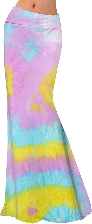 Women Casual Summer Skirts High Waist Tie Dye Vintage Floor Length Boho Maxi Skirt