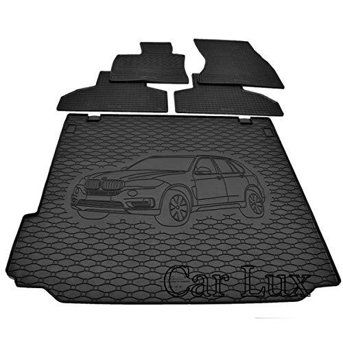 Car Lux AR95638 - Kit Alfombras Alfombrillas de goma a medida y alfombra maletero para X5 E70 desde 2007-