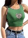Donne Kawaii Modello Canotta Crop Top Y2K Stampa Grafica Girocollo E-Girl Senza Maniche Gilet Verde XL
