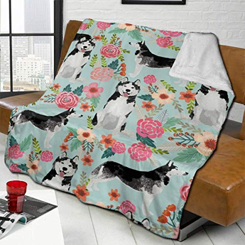 vilico Throw Blanket Fleece Baby Blankets for Boys Girls Kids,Soft Warm Cozy Blanket Fit Couch Bed Sofa,40x50 inches - Husky Florals Cute Light Mint Best Husky Dogs