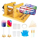 Cup Turner for Crafts Tumbler Cup Spinner Machine Kit, Double Wood Cuptisserie Turner DIY Glitter Epoxy Tumblers with Silent UL Motor Safety Switch 2 Foams