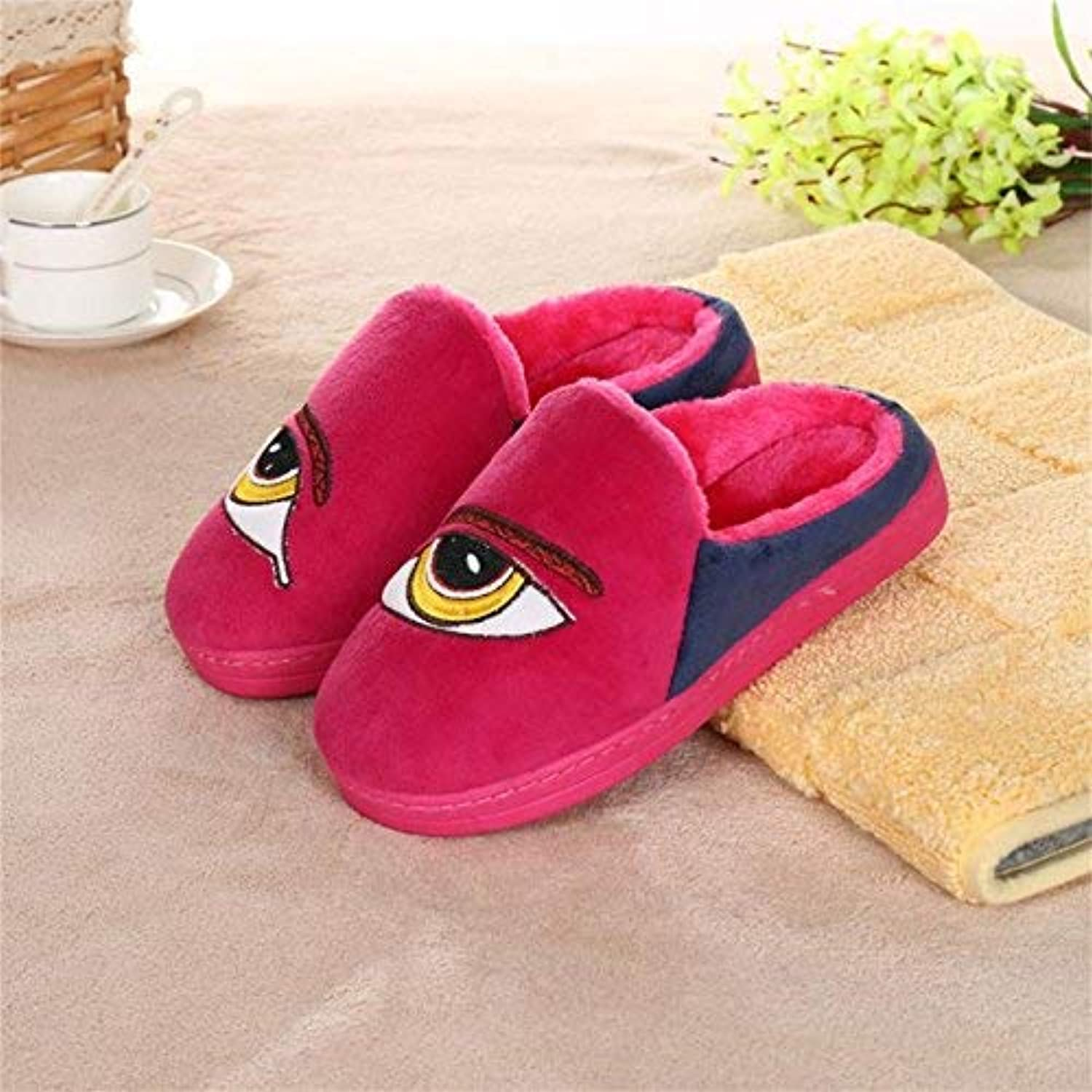 GouuoHi Womens Slippers Ladies Casual Wool Slippers are Warm in Autumn and Winter Leather Slippers bluee Pink pink Red for Women