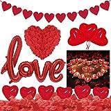 Set de Deco para el Día de San Valentín Globos Corazon Rojo Pétalos de Rosa Velas en Forma de Corazón Rojo para Bodas Nupcial Aniversario y Compromiso Decoración Día de La Madre