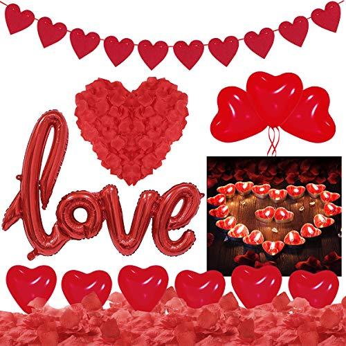 Saint-Valentin Décorations, Bougies Romantiques Pétales de Rose, 50 Bougies de Coeur 1000 Pétales de Rose 20 Ballons Coeur LOVE Ballon Décoration