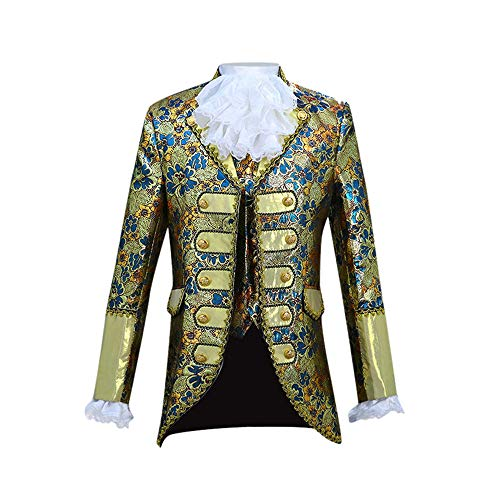 HROIJSL Herren Gerichtskleid im Europäischen Stil Kostüm Militärkleid Leistung Prinz Kostüm Mens European Style Gericht Kostüme Militäruniformen Leistungen Anzug