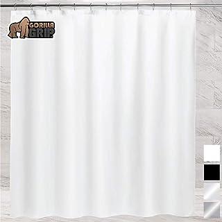 Gorilla Grip Premium Bathroom PEVA Shower Curtain, 72x72, Waterproof, Machine Washable, BPA Free, Magnets in Curtains, Reinforced Hook Holes, Fits Standard Bath Tub, 2 Pack, White Opaque