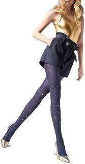 Designer Tights w/Star Studs Polka Dot Pattern