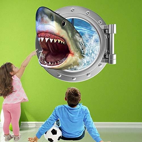 FHSFFS Wall Sticker Wall Stickers Shark Porthole Wall Art Stickers Mural Decals Children Bedroom Nursery Decoration