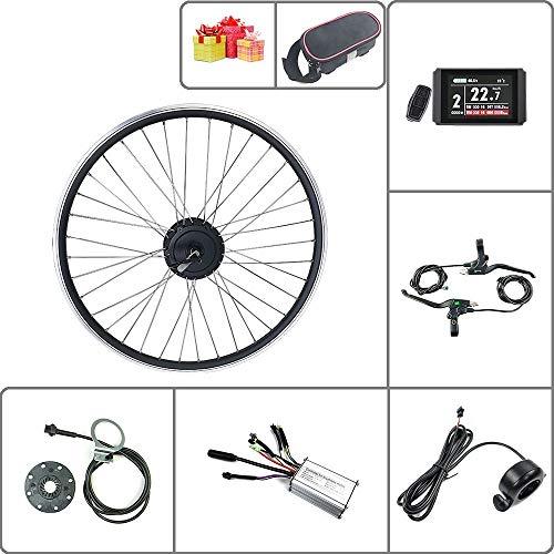 Schuck Kit di conversione Bici elettrica Ruota Posteriore Ruota Motore 16-29 Pollici 700C Ruota 36V48V 250W con Kit Display ebike KT LCD8H (48V250W LCD8H 16inch)