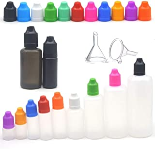 5pcs 3/5/10/15/20/30/50/60/100/120ml LDPE Plastic Empty Bottle Squeeze Juice Eye Liquid Dropper Bottles with Funnel (Color : Yellow, Size : PE)