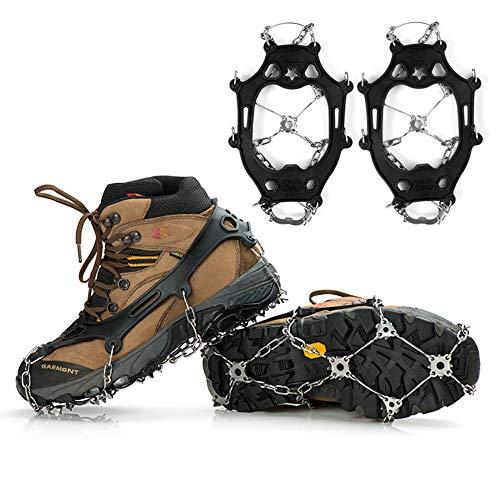 CQ&WL Steigeisen Traktionsstollen Ice Snow Grips mit 21 Spikes zum Laufen, Joggen, Klettern und Wandern
