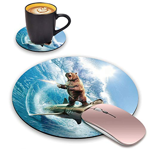 BWOOLL Round Mouse Pad & Coasters Set, Funny Grizzly Bear Holding Submachine Gun Standing on Shark Submarine Design Mousepad, Non-Slip Rubber Base Mouse Pads for Laptop and Computer