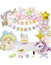 MMTX Enhörningsfestdekorationer tillbehör, enorma 3D-enhörningsballonger grattis på födelsedagen banderoll regnbåge ballong stjärna ballong bordsduk tårtdekoration och latex festballonger för spädbarn flicka pojke dam födelsedag