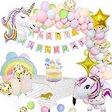 MMTX Decorazioni per Feste Unicorno Enorme Palloncino Unicorno Banner di Buon Compleanno Cake Topper Tovaglia Stella Arcobaleno Palloncini per Donna Ragazza Ragazzi Compleanno Festa della Doccia