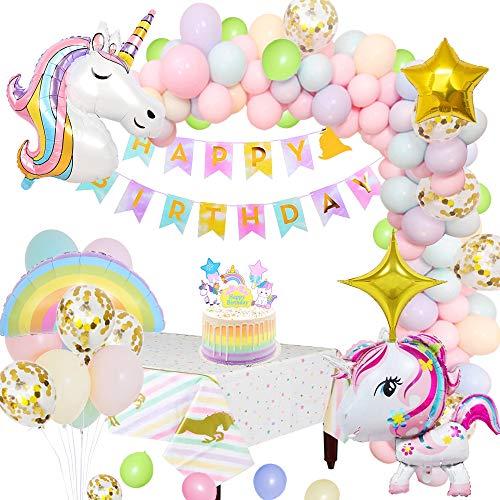 MMTX Einhorn Party Dekorationen Supplies Geburtstagsdeko mit 3D Einhorn Ballon Happy Birthday Banner Tischdecke Cake Topper Sternballons Regenbogen Luftballon für Kleinkinder Mädchen Boy Lady