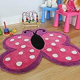 The Rug House Suave Alfombra para niñas con diseño de Mariposa Rosada con Lunares. Resistente al...