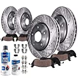 Detroit Axle - Front 320MM and Rear 308MM Drilled and Slotted Rotors w/Ceramic Pads Replacement for Infiniti M35 M45 G35 EX35 EX37 G25 G37 QX50 Nissan 350Z 370Z - 10pc Set