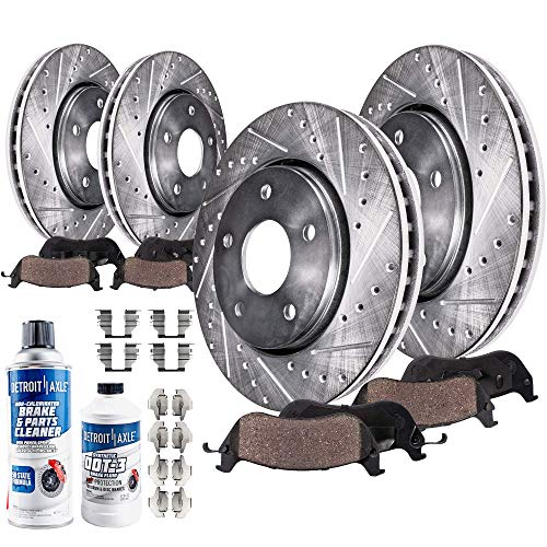 Detroit Axle - All (4) Front and Rear Drilled and Slotted Disc Brake Kit Rotors w/Ceramic Pads w/Hardware & Brake Kit Cleaner Replacement for 07-09 Aspen/Dodge Durango - [06-17 Dodge Ram 1500 5-LUG]