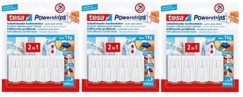 tesa Powerstrips Gardinenhaken, selbstklebend, weiß, 12 Haken