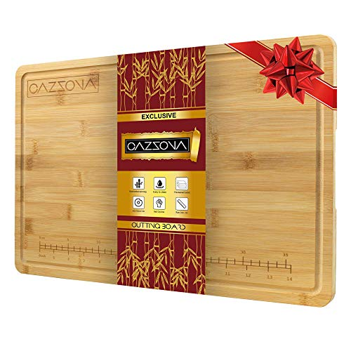 CAZZOVA Organic Bamboo Cutting Board EXTRA LARGE with RULER and Juice Groove, 18 x 12 Inch - Kitchen Wood Butcher Block for Meat & Cheese- Chopping- Charcuterie Board- Wooden Serving Tray w/ Handles