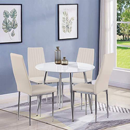 GOLDFAN Esstisch und 4 Essstühlen Esszimmergruppe Runder Tisch und Beige Stuhl für Wohnzimmer Küche etc
