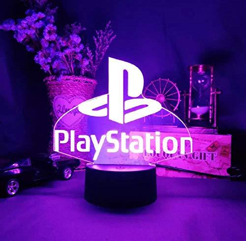 3D Illusion Lampe,Gaming playstation 3D Nachtlicht mit 16 Farben Ändern und Fernbedienung, Geburtstags und Weihnachtsgeschenke für Kinder-Schwarze Basis