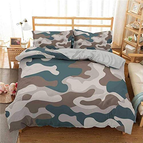 WGLG Double Bed Duvet Sets, 3D Printing Camouflage Bedding Set Home Textiles Boy Teen Kids Duvet Cover Pillowcase Abstract Bedclothes