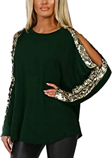 Womens Cold Shoulder Sequin T-Shirt Ladies Long Sleeve Glitter Tops Blouse
