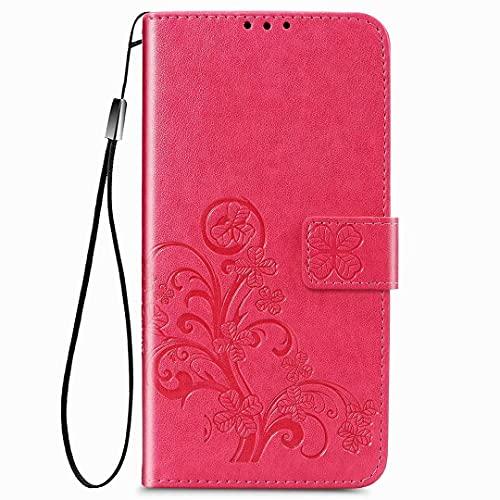 RanTuo Capa de celular para Xiaomi Mi CC9, com compartimentos para cartão, suporte, TPU + couro PU, capa flip para Xiaomi Mi CC9. (rosa vermelho)