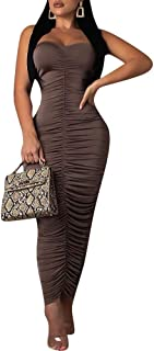 Remelon Womens Sexy Strapless Ruched Tube Top Bodycon Tight Fit Party Long Skirt Maxi Dress