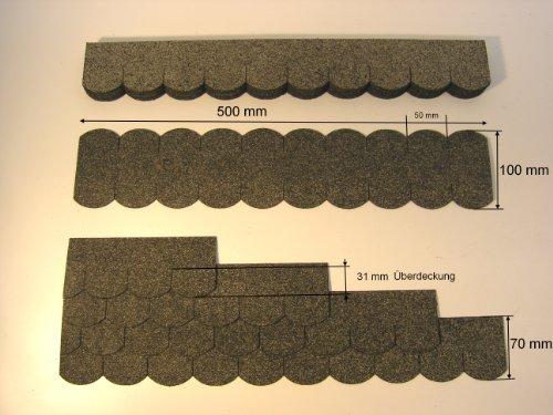 Martinshof Rothenburg Diakoniewerk Mini Dachschindeln Biberschwanz (50 mm) - Grau 23.413