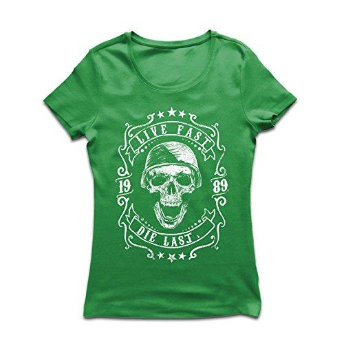 lepni.me Dames T-Shirt Leven Snel - Die Laatste - Bike Ride Citaten, Motorkleding Liefde om te Ride, Geweldig cadeau voor Biker