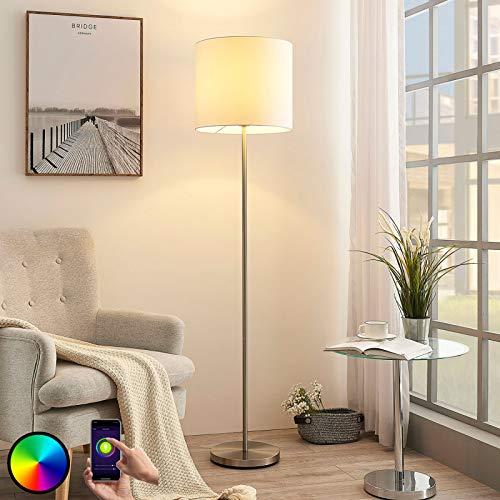 Lindby Smarte Stehlampe 'Everly' dimmbar (Modern) in Weiß aus Textil u.a. für Wohnzimmer & Esszimmer (1 flammig, E27, A+, inkl. Leuchtmittel) - Smart Home Stehleuchte, Wohnzimmerlampe
