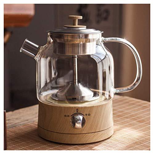 ケトルガラス電気ケトルワイヤレス、循環スチームコーヒーとティーストーブ、レトロな木目調、高ホウケイ酸ガラスボディ健康的な沸騰水安全で心配のない、LEDライト(サイズ:0.8L)