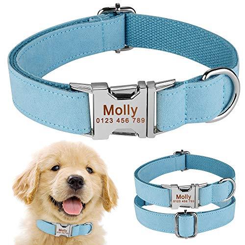Nylon Marrón Pequeño Mediano Grande Collar de Perro Personalizado para Mascotas Nombre de identificación Grabado-S (26-40cm) __