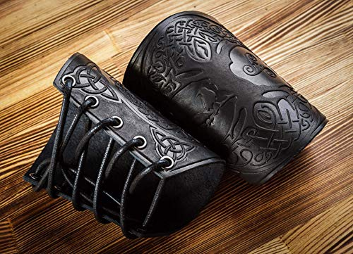 """Hand Made Full Grain Leather Cuffs Bracers - Unique Gift - LARP Gauntlet - Leather Wristbands - LARP Accessories Viking Bracers - Archery Armguard - Yggdrasil World Tree 5"""""""