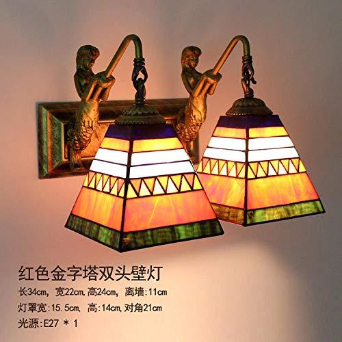 NZJSY Modern Kreative Wandleuchte Amerikanischen Mittelmeer Spiegel Scheinwerfer Wandbehang LED-Streifen Wandleuchte Bad Bad Dressing Spiegelschrank - rote Pyramide Doppelkopf Wandleuchte