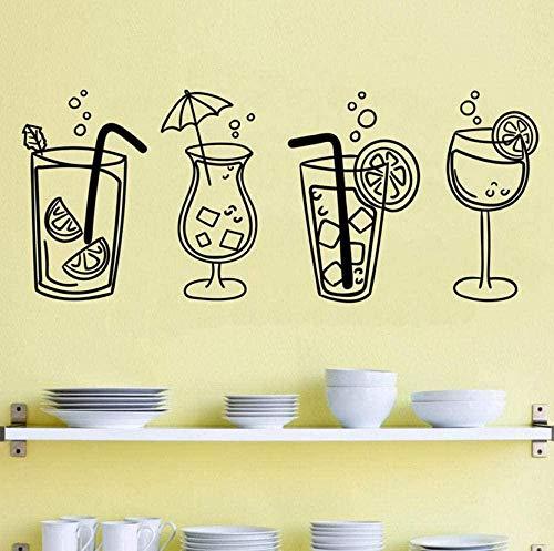 Pegatinas de pared de vinilo de pared de cuatro copas de cóctel bebidas para cocina, bar, restaurante interior de cristal 57 x 24 cm de moda papel pintado mural