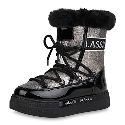 SCARPE VITA Damen Stiefeletten Winter Boots Warm Gefütterte Plateau Stiefel Metallic Schuhe Outdoor Winterschuhe Snow Booties 187317 Silber Schwarz 39