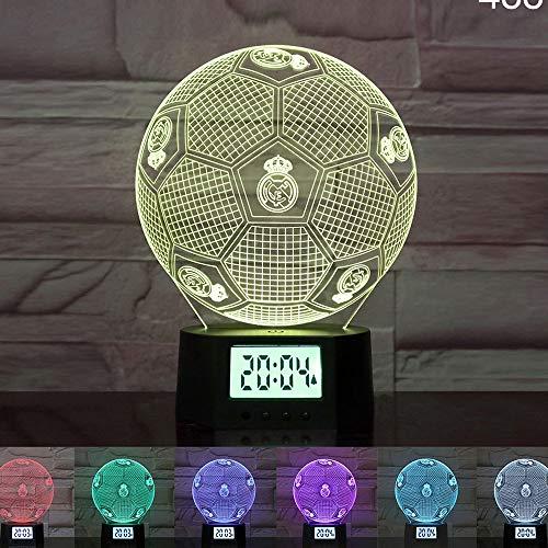 Luz nocturna 3D LED, lámpara de escritorio de acrílico, reloj electrónico, regalo de fútbol