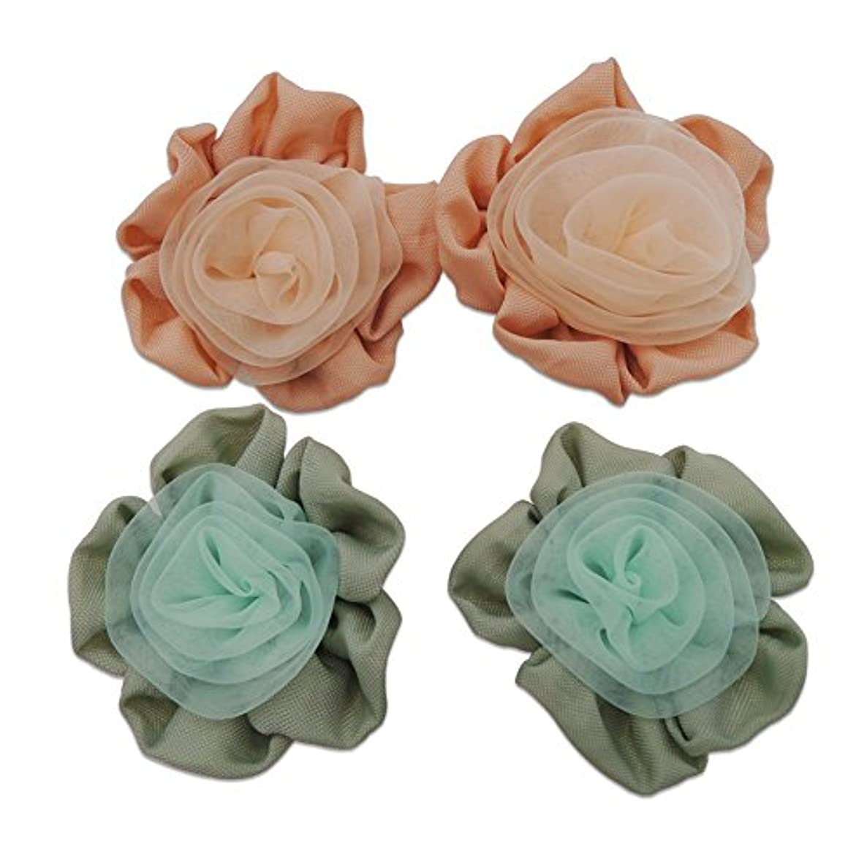 4pcs Handmade Decorative Fabric Flower Applique for Dresses