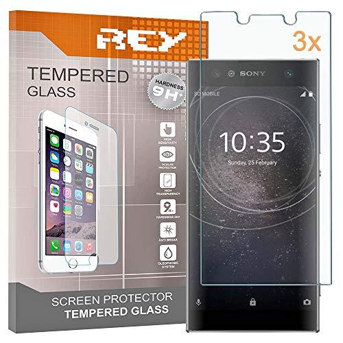 REY Pack 3X Panzerglas Schutzfolie für Sony Xperia L2, Bildschirmschutzfolie 9H+ Festigkeit, Anti-Kratzen, Anti-Öl, Anti-Bläschen