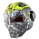 LKJCZ Casques Personnalité Moto Marvel Iron Man Casque Casque intégral Harley...